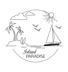 Island paradise beach and water travel and vector