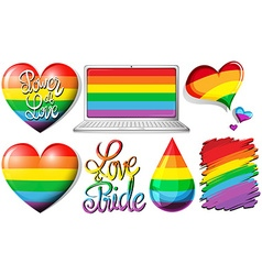 Love and pride with hearts and rainbow objects vector
