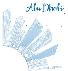 Outline Abu Dhabi City Skyline with Blue Buildings vector image