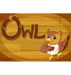 A wooden frame with an owl vector image vector image