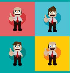 Businessman manager at work thumb up cartoon art vector