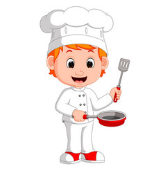cartoon funny chef holding frying pan vector image