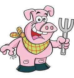 Cartoon happy pig holding a fork vector