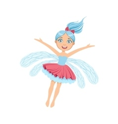Cute Fairy With Blue Hair Girly Cartoon Character vector image vector image