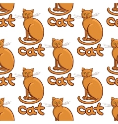 Cute flat cats pattern vector image vector image
