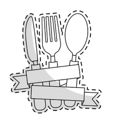 emblem with cutlery vector image