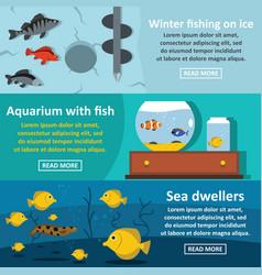 fishing aquarium banner horizontal set flat style vector image vector image