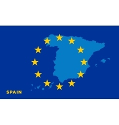 Flag of European Union with Spain on background vector image vector image