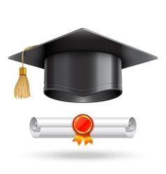 Graduation Cap and Diploma Scroll vector image