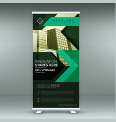 green geometric standee roll up banner design vector image