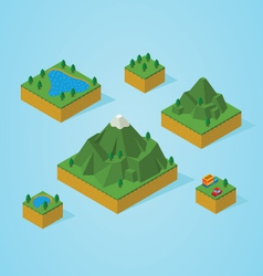 Isometric mountain map vector image vector image