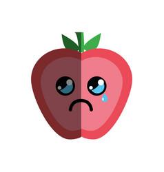Kawaii nice crying strawberry fruit vector