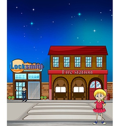 Kid locksmith and fire station vector