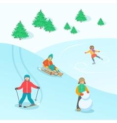 Kids play outdoor winter games background vector image vector image