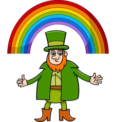 leprechaun and rainbow cartoon vector image vector image