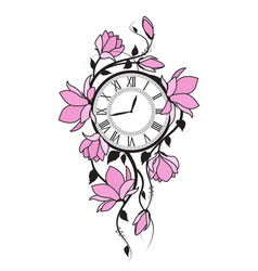 Magnolia flowers and clock vector