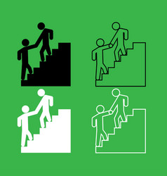 Man helping climb other man icon black and white vector