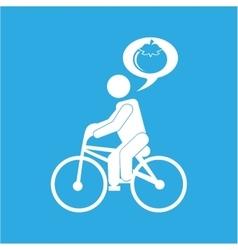Man silhouette riding bike design vector