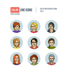 modern thin line icons set of people avatars vector image vector image