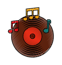 music vinyl disk note music sound vintage vector image