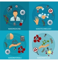 Nanotechnology Icon Set vector image vector image