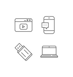 Notebook usb flash drive and browser window vector