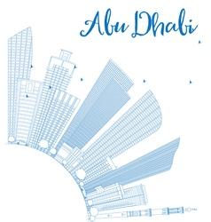 Outline abu dhabi city skyline with blue buildings vector
