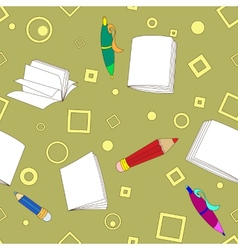 School notes seamless pattern on khaki background vector image