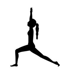 silhouette yoga high lunge crescent vector image