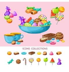 Sweet candy icon set composition vector