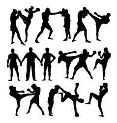 Thai boxing sport silhouettes vector