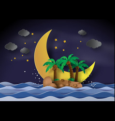 The island in the midnight with half moonpaper vector