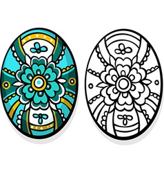 turquoise easter egg - coloring book vector image vector image
