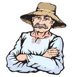 Village farmer man in straw hat vector
