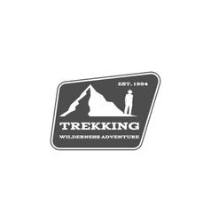 Vintage mountain hiking trekking camp logo vector image