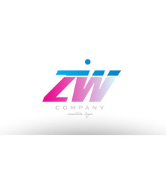 zw z w alphabet letter combination pink blue bold vector image vector image