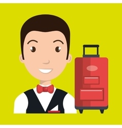 Hotel suitcase customer employee vector