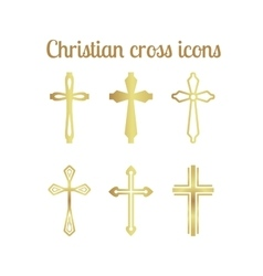 Golden christian cross vector
