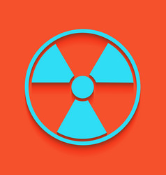 Radiation round sign whitish icon on vector