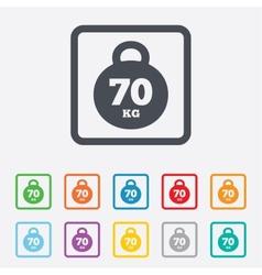 Weight sign icon 70 kilogram kg sport symbol vector