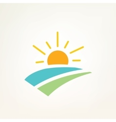 sun and water waves simple icon vector image