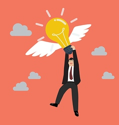 Businessman hold flying lightbulb vector