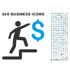 Business steps icon with flat set vector