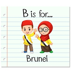 Flashcard letter b is for brunei vector