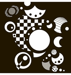 Abstract black-and-white background with circles vector
