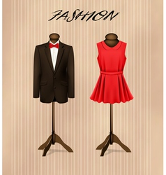 A suit and a retro formal dress on mannequins vector image vector image
