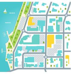 Abstarct map of coastal town area design vector