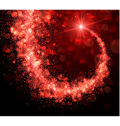Abstract christmas background with red swirl vector