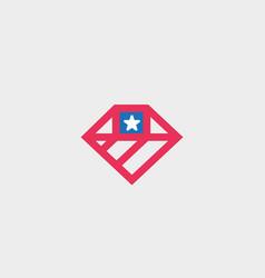 American flag diamond logo design us national gem vector