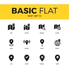 Basic set of map icons vector